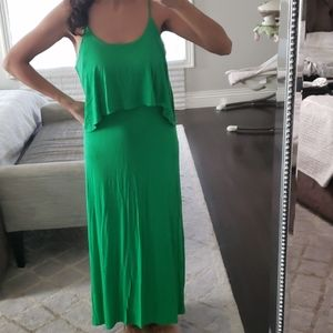 WOMEN'S FINAL TOUCH BRIGHT GREEN MAXI LONG DRESS